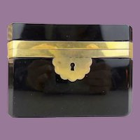 French Black Opaline Casket Hinged Box ~ A Large Rectangular Box wWide  Smooth Gilt Mounts