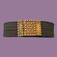 """19C  6"""" Woven Hair Bracelet W Exquisite Pinchbeck Clasp  ~ A Beautifully Woven Hair Bracelet  ~ A WORK OF ART!"""