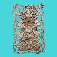 BIG Beautiful Ornate  Silver Chatelaine Clip