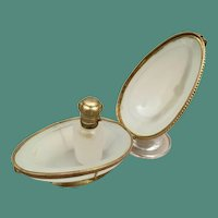 "Antique French White Opaline Scent ""EGG"" Shaped Casket Hinged Box"