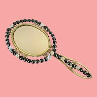 Gorgeous Antique French Jeweled Hand Mirror ~ Prong Set Paste Gems
