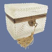 BIG Antique French Diamond Cut Crystal Casket Hinged Box ~ Beautiful Fancy Gilt Mounts and Original Key