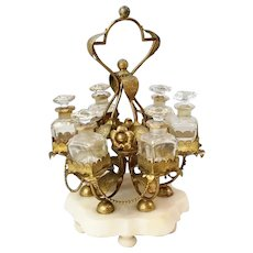 "19C French ""PALAIS ROYAL"" 12"" Perfume  Ormolu Carousel  w/ 6 Crystal Bottles ~ Glorious Gilt Ormolu Stand Resting on an Alabaster Plinth & Holding 6 Perfume Bottles"