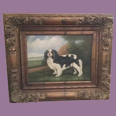 Vintage  Cavalier King Charles Spaniel Dog Oil Painting