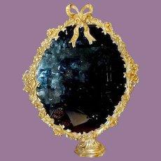 """Magnificent 25"""" Vintage Estate Bronze Mirror wStand  ~ BIG Bow TOP"""