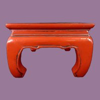 "Antique Chinese Red Lacquered Kang Table / Stand ~ Great Size to Display a Large Treasure or a Great Group ~ 20 ¾"" x 13 ¼"" x 8 ¾"""