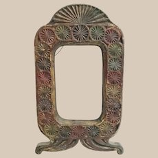 Antique Carved Wood Frame w Lovely Old Blue, Green, and Red Paint ~  JUST  Perfect Wonderful for a Painting, Picture or a Mirror