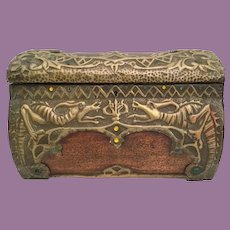 Giant Wood Jeweled Casket Hinged Box wSpectacular Brass Overlay w Dragons