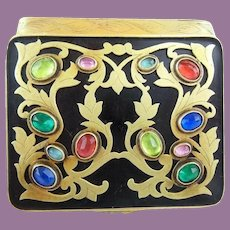 Pretty French Jeweled Enamel Compact Hinged Box  ~  Beveled Mirror and Lovely Engraved Sides