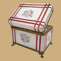 """7 ½""""Antique French White Cut to RED Casket Hinged Box ~ Hand Enamel Flowers  and Lovely Gilding  ~ Fancy Mounts and Claw Feet"""