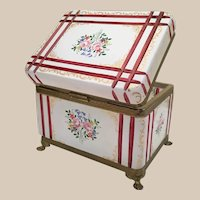 "7 ½""Antique French White Cut to RED Casket Hinged Box ~ Hand Enamel Flowers  and Lovely Gilding  ~ Fancy Mounts and Claw Feet"