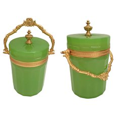 Antique French Green Opaline Covered Box ~ Extraordinary Beautiful Gilt Handle, Mounts and Finial ~Exquisite GREEN
