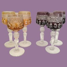 Six Cordial Stems Glasses ~ Three Amber  and Three Amethyst Exquisite Cut Glasses with Cut Crystal Stems ~   Luscious Colors