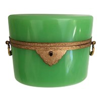 19C  French Green Opaline Double Handle Hinged Box ~ Fabulous Ornate Double Handles  and Mounts ~ Stunning Green Opaline