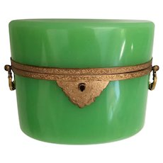 Antique French Green Opaline Double Handle Hinged Box ~ Fabulous Ornate Double Handles  and Mounts ~ Stunning Green Opaline