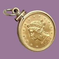 1903 $2.5 Liberty Head Dollar Gold Coin in a 14KARAT Gold Frame