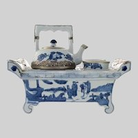 RARE Japanese Porcelain Tea for Two Set ~ Antique Set w two tea cups, teapot, hot water heating stand ~ Stunning Metal mounts to handles and rims.