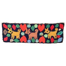 """American Folk Art """"DOGS and HEARTS"""" Hooked Rug ~ Darling Rug with Dogs and Hearts ~ 16"""" x 48"""""""
