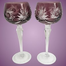 """PAIR  7 ½"""" Vintage Estate Bohemian Amethyst  Cut to Clear Wine Glasses  ~ Absolutely Wonderful Cut and the Majestic Amethyst is a Winner!"""