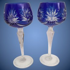 "PAIR 7 ½"" Vintage Estate Bohemian Cobalt Blue Cut to Clear Wine Glasses ~ Absolutely Wonderful Cut and the Majestic Cobalt Blue is a Winner!"