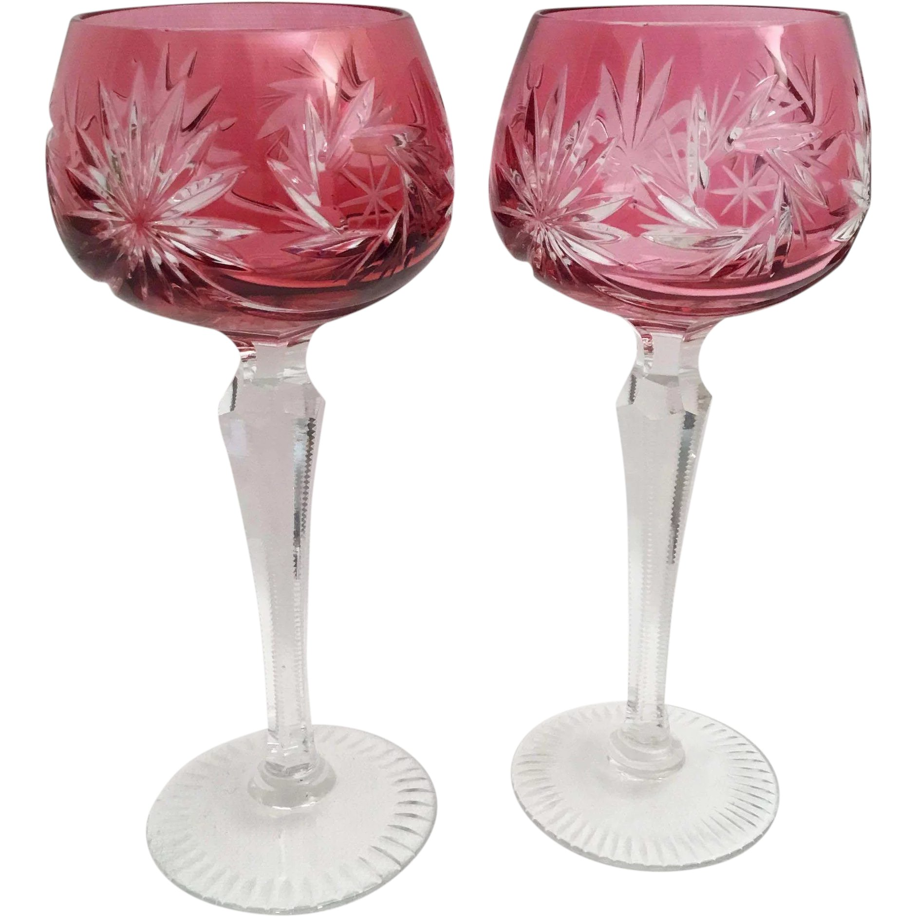 Art Glass Pair Of Bohemian Cranberry Cut To Clear Wine Hock Goblets Etched Star Design