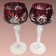 """PAIR 7 ½"""" Vintage Estate Bohemian Burgundy Cut to Clear Wine Glass Stem ~ Absolutely Wonderful Cut and the Majestic Burgundy  is a Winner!"""