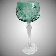 """7 ½"""" Vintage Estate Bohemian Green Cut to Clear Wine Glass Stem ~ Absolutely Wonderful Cut and the Majestic Green  is a Winner!"""