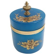 Antique French Turquoise Blue Opaline Hinged Box ~ Beautiful Bronze Finial ~ A BEAUTY from My Treasure Vault