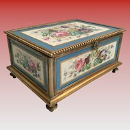 "GIANT Sevres Casket Hinged Box ""Five Wonderful Sevres Porcelain  Plaque""  ~ Footed Base  w Elegant Clasp Catch ~ A Fabulous Sevres Casket from the Treasure Vault."