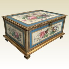 """GIANT Sevres Casket Hinged Box """"Five Wonderful Sevres Porcelain  Plaque""""  ~ Footed Base  w Elegant Clasp Catch ~ A Fabulous Sevres Casket from the Treasure Vault."""