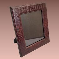 "Beautiful 14"" Faux Alligator Crocodile  Table Top Picture Frame ~ Ready to Display Your Prized Photo ~ Easel Back Stand"