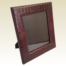"""Beautiful 14"""" Faux Alligator Crocodile  Table Top Picture Frame ~ Ready to Display Your Prized Photo ~ Easel Back Stand"""