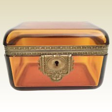 Antique Amber Hinged Box with Beautiful Ornate Mounts ~ The Extraordinary Rectangle Shape has All Rounded Corners ~ IT IS AN AWESOME BOX!  ~ The  Shape and Color is Stunning