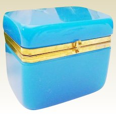 Majestic French Blue Opaline Hinged Box with Smooth Gilt Mounts and S Clasp ~ BIG Size and Delightful Color Blue Opaline ~ A BIG Wonderful Blue Opaline Hinged Box from My Treasure Vault.