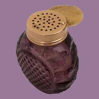 English Purple Cut Glass Vinaigrette ~ Exquisite Purple Cut Crystal Bottle with a Gilt Silver Vinaigrette Top
