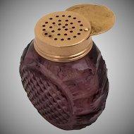 Antique English Purple Cut Glass Vinaigrette ~ Exquisite Purple Cut Crystal Bottle with a Gilt Silver Vinaigrette Top