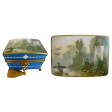 "Charming 7"" Antique French Opaline Double Handle Casket Hinged Box ~A Hand painted Lush Garden View with Ducks Gracing the Dome Top ~ A Fabulous Casket with Large Double Handles ~ Resting on a Footed Base ~  Original Working Key"