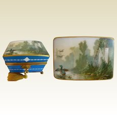 """Charming 7"""" Antique French Opaline Double Handle Casket Hinged Box ~A Hand painted Lush Garden View with Ducks Gracing the Dome Top ~ A Fabulous Casket with Large Double Handles ~ Resting on a Footed Base ~  Original Working Key"""