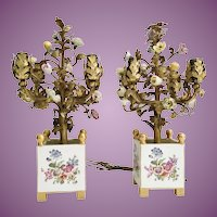 PAIR  19C Porcelain Flower Lighted Topiary in Fabulous Hand-printed Porcelain Cachepots ~ Four Miniature Lights ~ Sevres Styles
