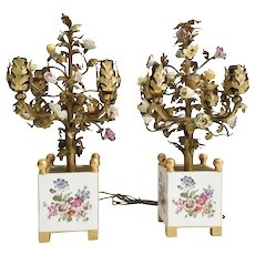 Magnificent Pair 19C Porcelain Flower Lighted Topiary in Fabulous Hand-printed Porcelain Cachepots ~ Four Miniature Lights ~ Sevres Styles