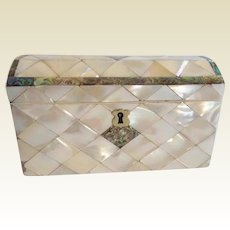 1880 Dome Top Mother of Pearl & Abalone Casket Hinged Box ~ STUNNING Dome Top Hinged Box w Luscious Gleaming Mother of Pearl and Abalone Box