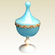 Antique French Blue Opaline Covered Compote  ~ Exquisite Draped Gilt Ormolu Circling the Top Edge  ~ A Bulle de Savon Stemmed Base ~ IT IS GLORIOUS!!!