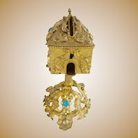 RARE  Palais Royal Jeweled Money Box ~ A Beautiful 1880 Gilt Ormolu Money Box with Gems ~  STUNNING