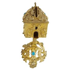 Extraordinary & RARE  Palais Royal Jeweled Money Box ~ A Beautiful 1880 Gilt Ormolu Money Box with GEMS