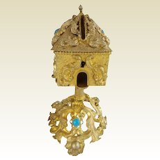 Extraordinary & RARE  Palais Royal Jeweled Money Box ~ A Beautiful 1880 Gilt Ormolu Money Box with GEMS