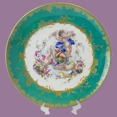 """LAYAWAY   Antique 18"""" Porcelain PLATE Charger w Three Winged Cherubs Putti ~ ABSOLUTELY Wonderful ~ A Teal Border Circles the Three Wonderful Winged Cherubs ~ Sweet Cherubs with Flowers, Ribbons in the Center and Circled in the Grandest Gilding"""