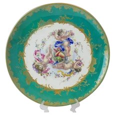 """Antique 18"""" Porcelain Charger with Three Winged Cherubs Putti ~ ABSOLUTELY Wonderful ~ A Teal Border Circles the Three Wonderful Winged Cherubs ~ Sweet Cherubs with Flowers, Ribbons in the Center and Circled in the Grandest Gilding"""
