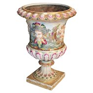 BIG Antique Capodimonte Pedestal Urn ~ THE BEST!  ~  Putti, Dogs, Horses, Boar ~  A Capodimonte BEAUTY From my Treasure Vault.