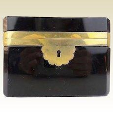 LUSCIOUS French Black Opaline  Glass Casket Hinged Box ~ Smooth Gilt Mounts ~ A TREASURE BOX