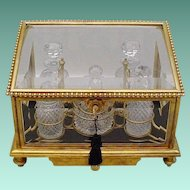 """Magnificent 10 ¼"""" Antique Baccarat Scent Casket ~ Dore' Bronze and Beveled Glass Casket with A Drawer and Five Awesome Cut Crystal Pieces~ Majestic  Gilt Ormolu Fitted  Holder wFour Scent Bottles and a Covered Box"""